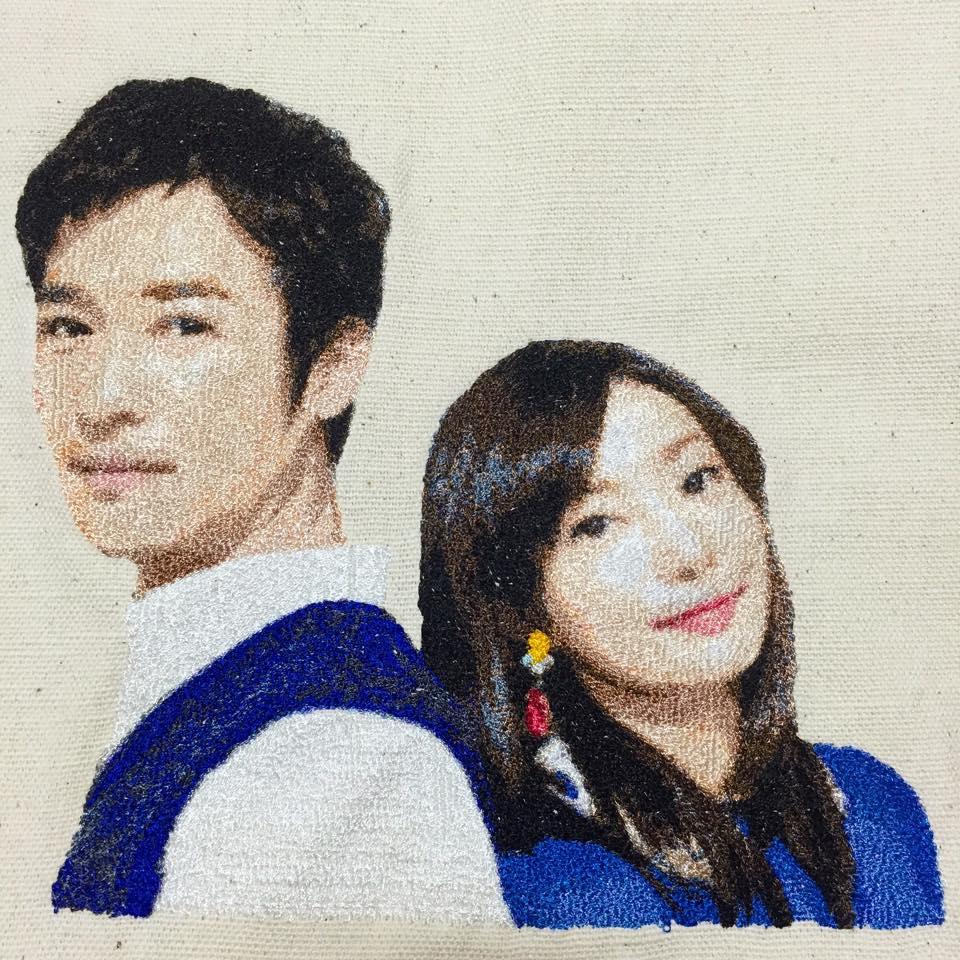 フォト刺繍堺雅人と菅野美穂