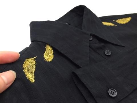 フェザー刺繍シャツ