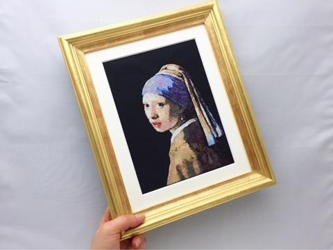 フォト刺繍-真珠の耳飾の少女