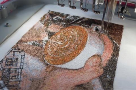 ラテアートのフォト刺繍