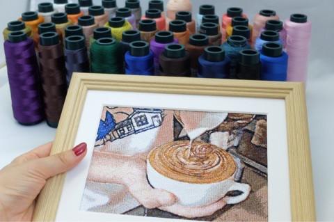 ラテアートのフォト刺繍と糸