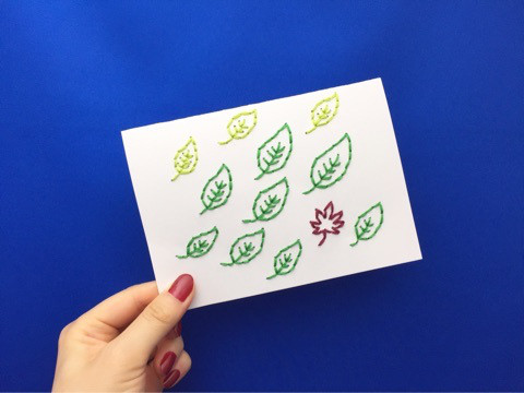 紙刺繍 小さい秋みーつけた