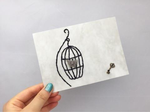 紙刺繍 鳥かご