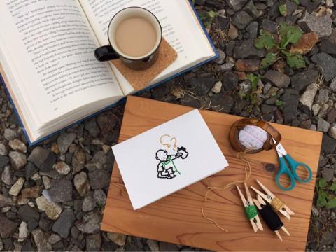 紙刺繍の風景