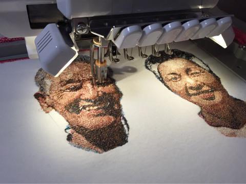 フォト刺繍制作中