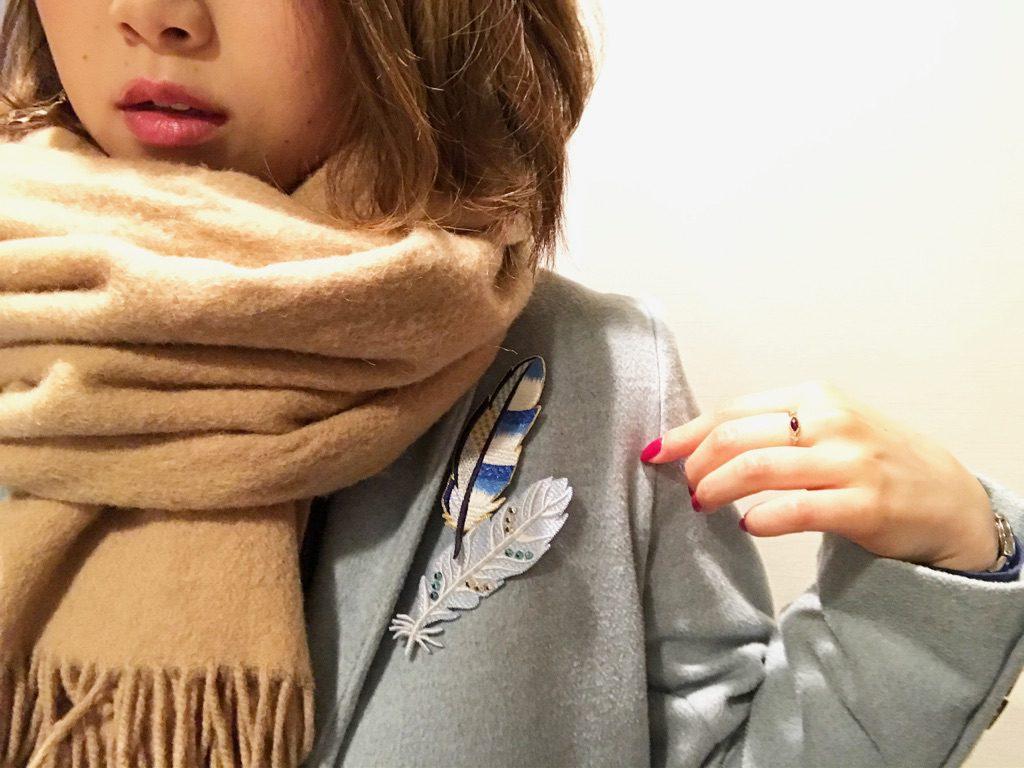 青い鳥の刺繍ブローチ