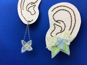 あじさい刺繍イヤリング 耳紙刺繍