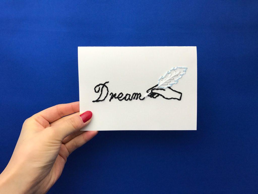 羽ペンの紙刺繍