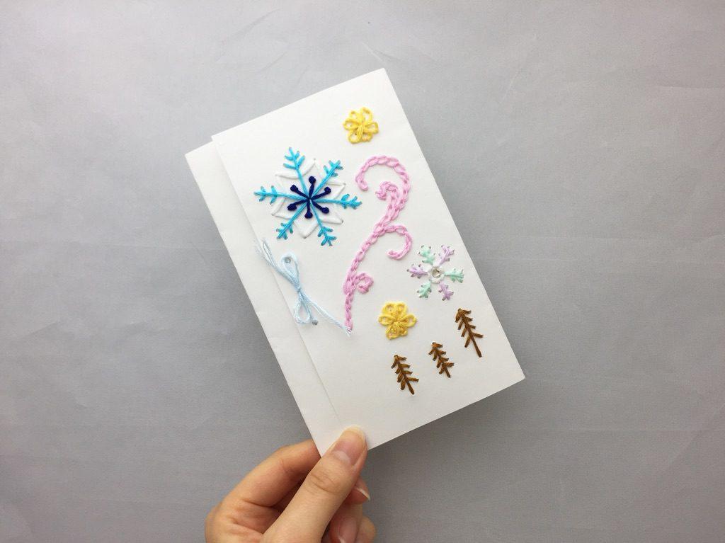 紙刺繍 雪の結晶