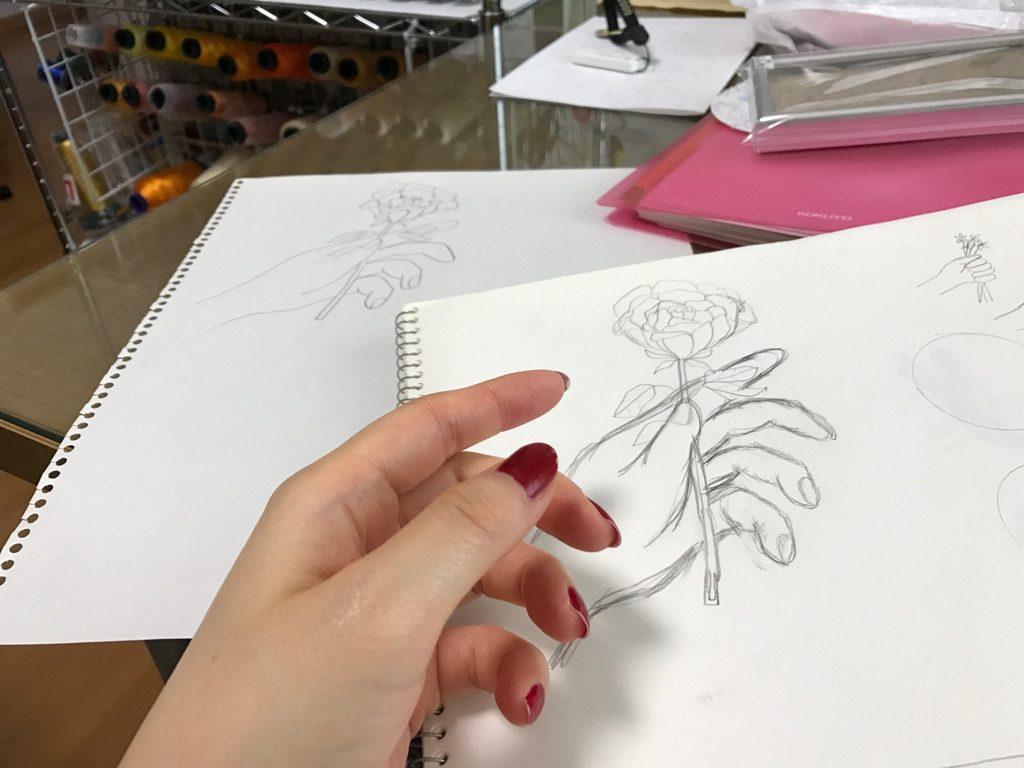 手のデッサン 薔薇 刺繍