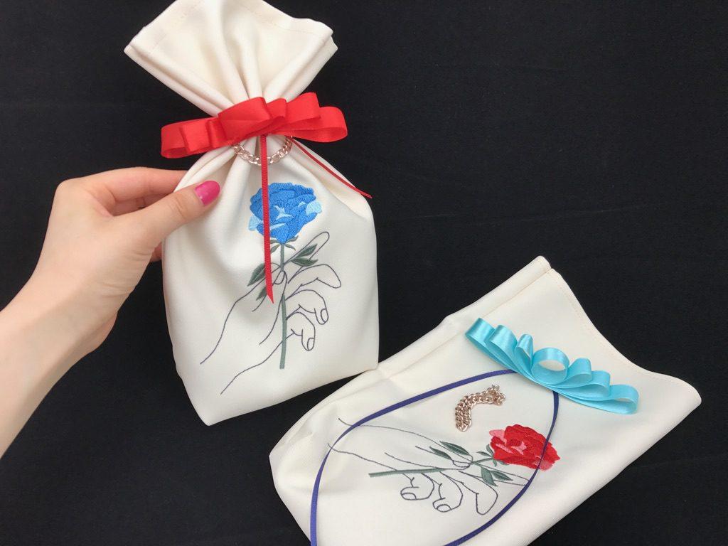 一輪のバラ刺繍 ラッピングバッグ