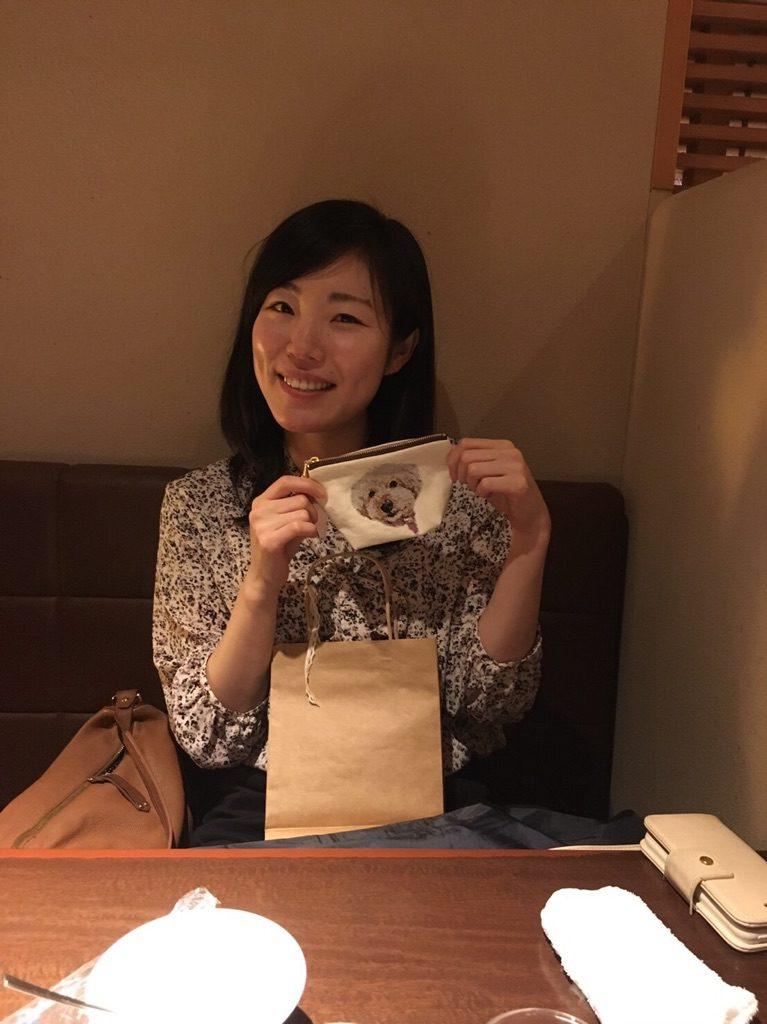 フォト刺繍ポーチ トイプードル 誕生日プレゼント