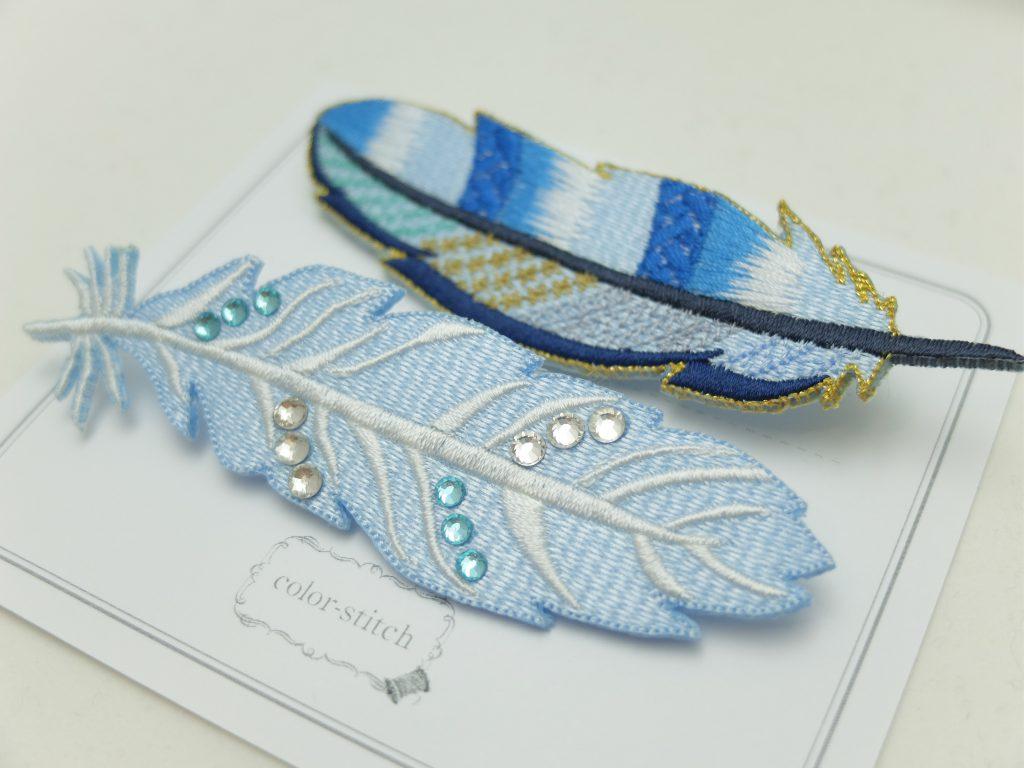 青い羽 刺繍ブローチ