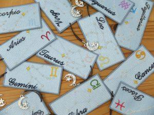 12星座 刺繍しおり bookmark 刺繍雑貨