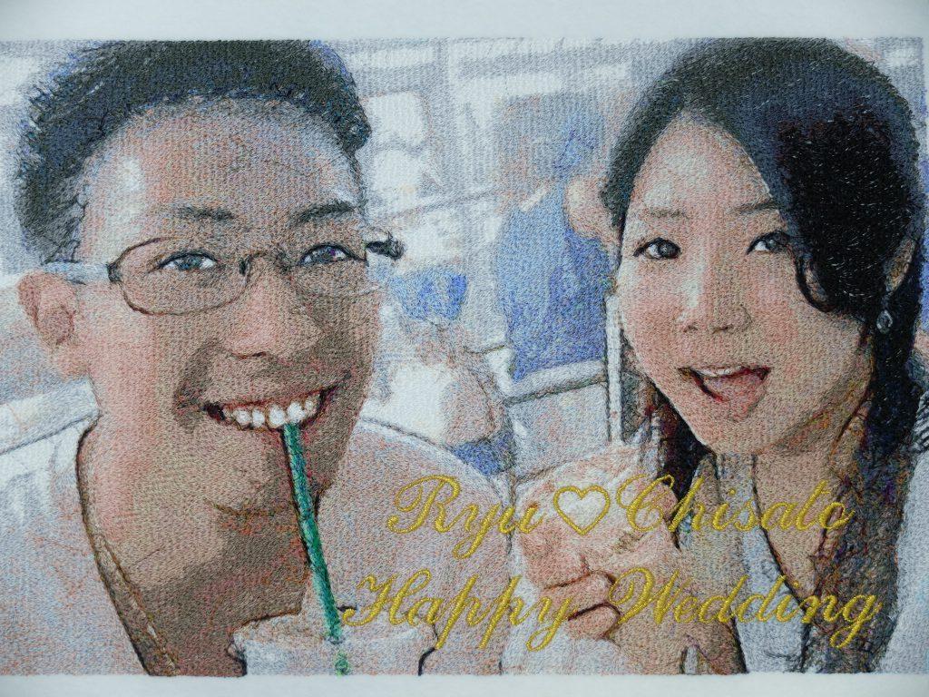 結婚祝い 写真 フォト刺繍 新郎新婦 プレゼント