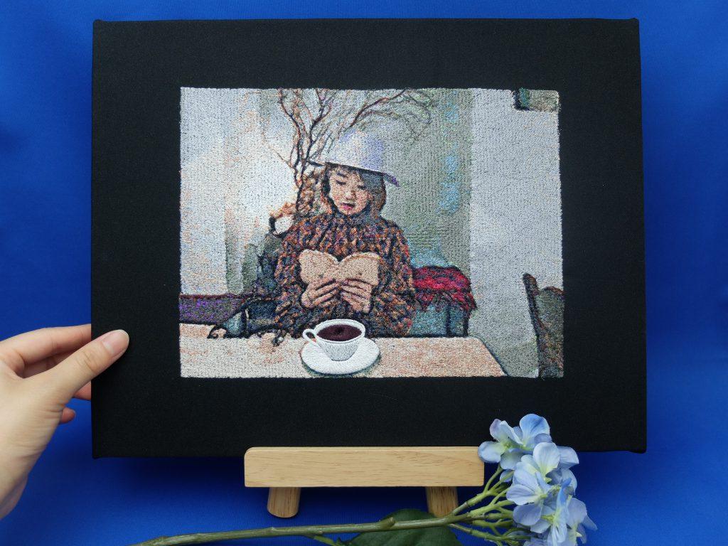 フォト刺繍 コーヒーカップ 札幌カフェ