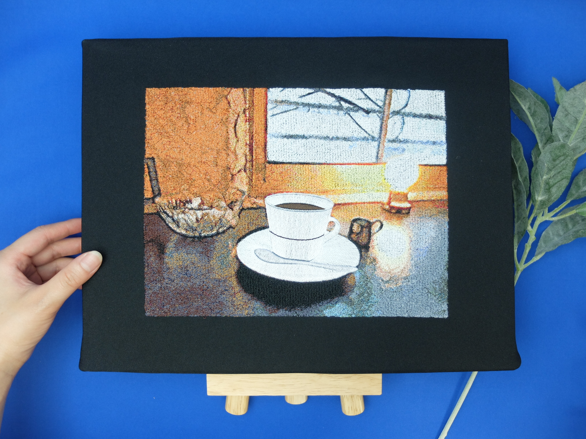 札幌カフェ つばらつばら フォト刺繍 コーヒーカップ
