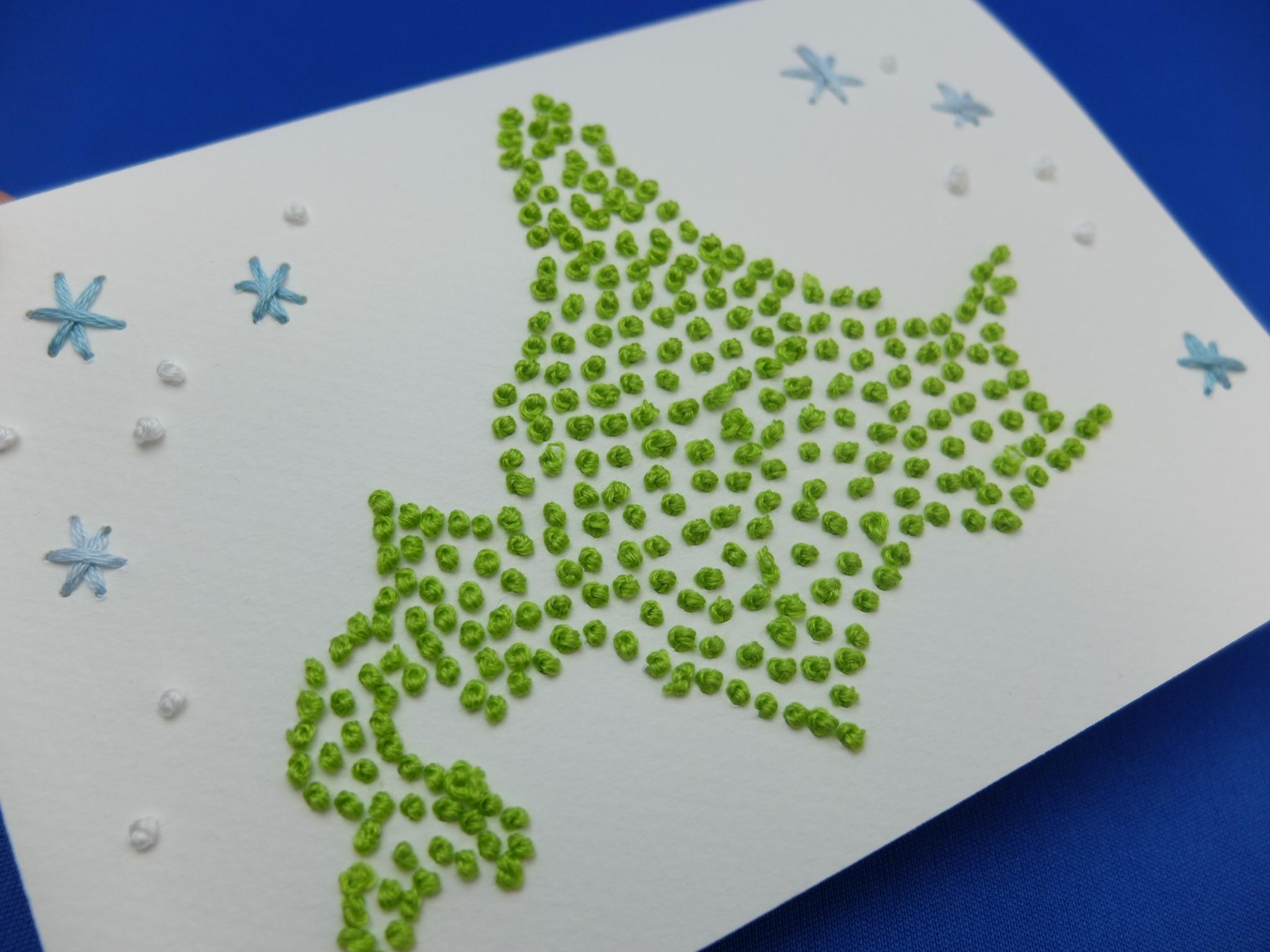 紙刺繍 メッセージカード 北海道 フレンチノット