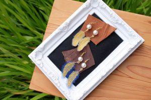 フェザー刺繍 ピアス 刺繍アクセサリー