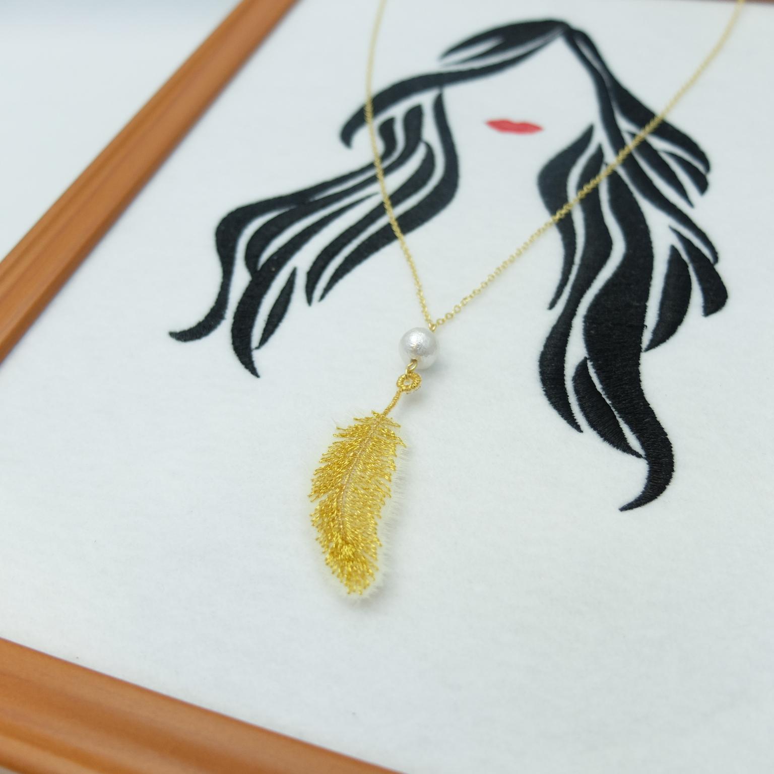 フェザー刺繍 ネックレス 刺繍アクセサリー