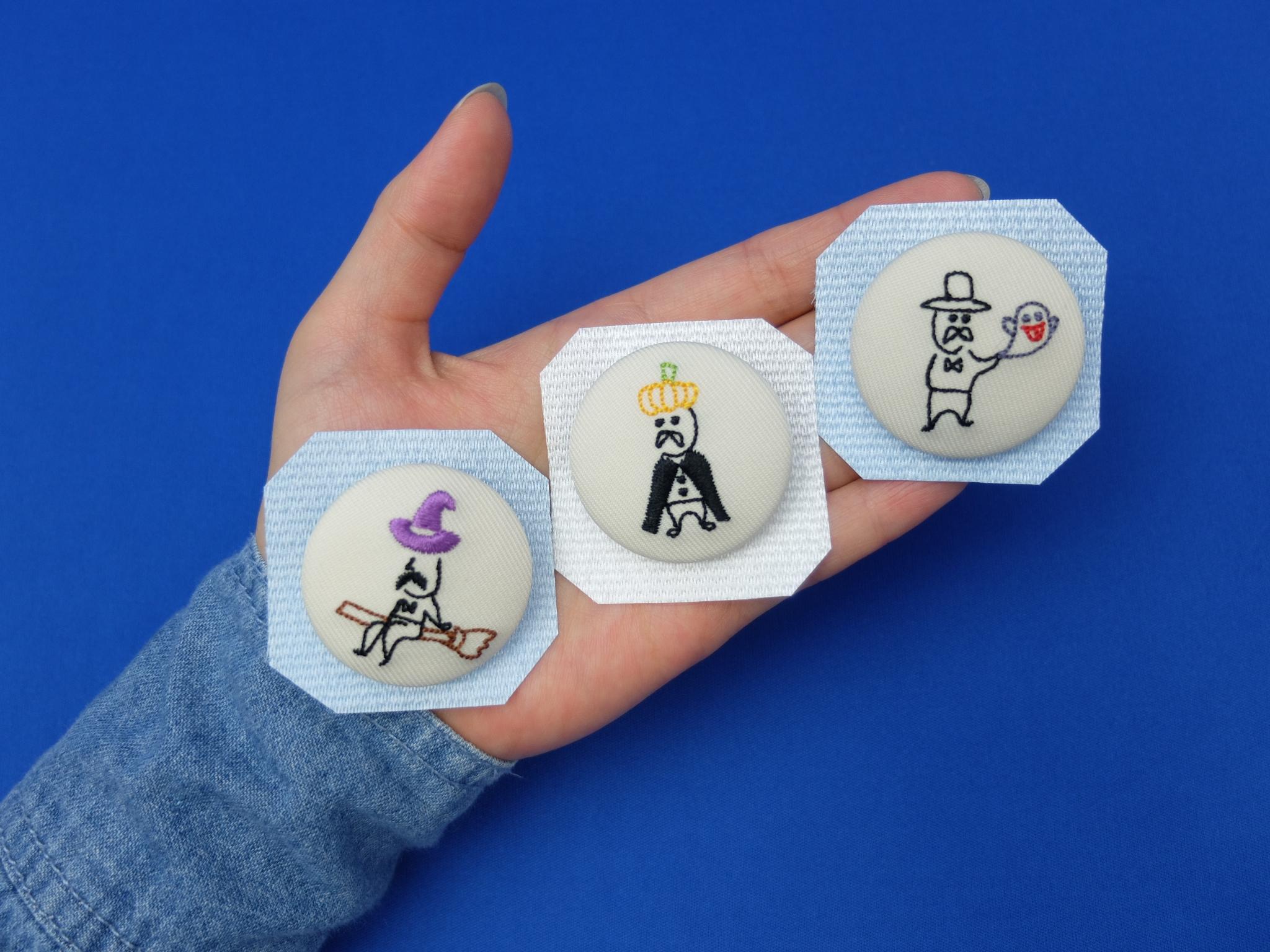 小さいおじさん くるみボタン 刺繍バッチ ハロウィン