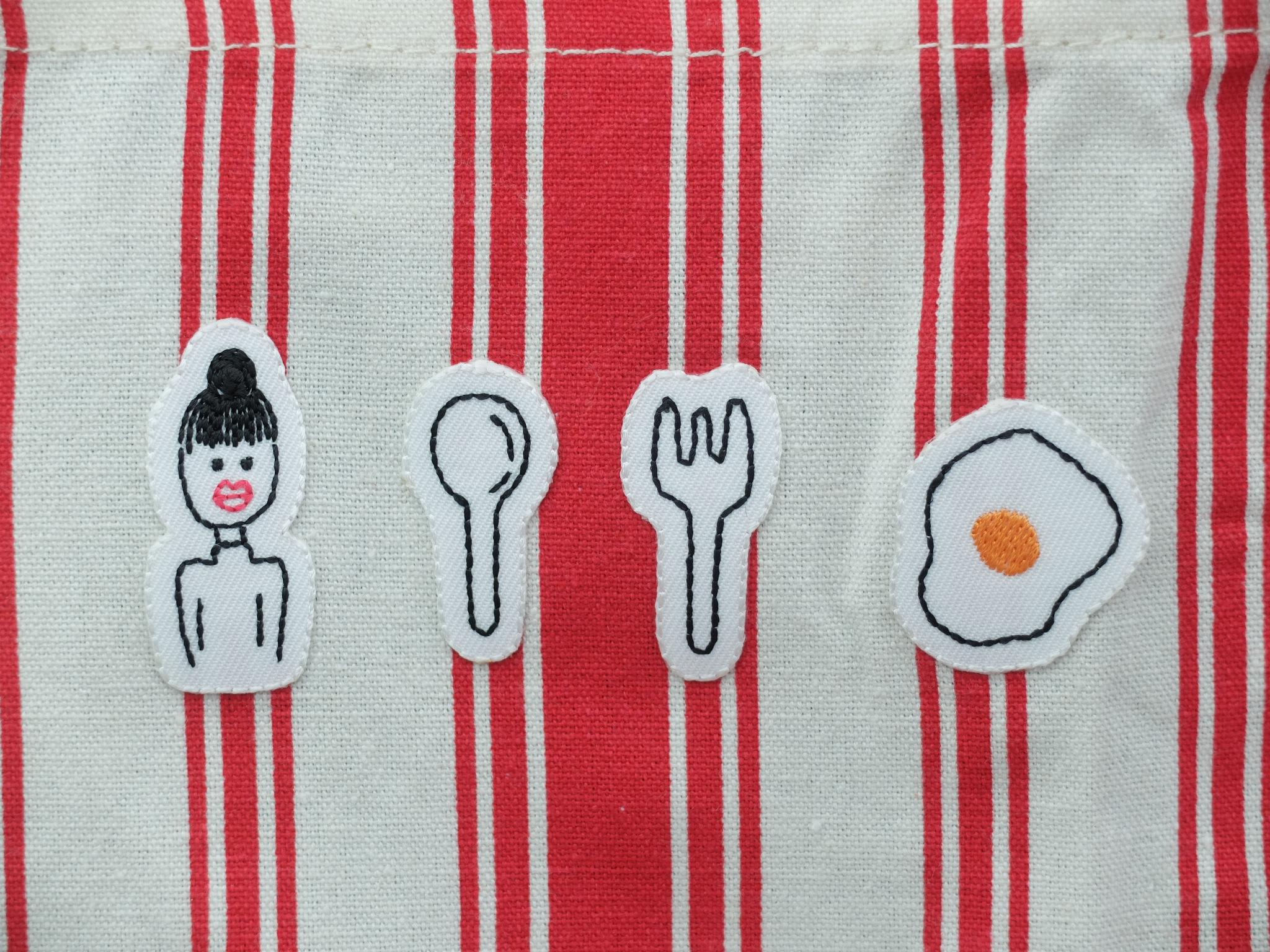 エプロン ナチュラルキッチン 刺繍ワッペン 手描きイラスト