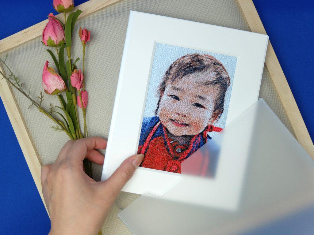 フォト刺繍 プレゼント 写真 刺しゅう 想い出 記念 両親 孫