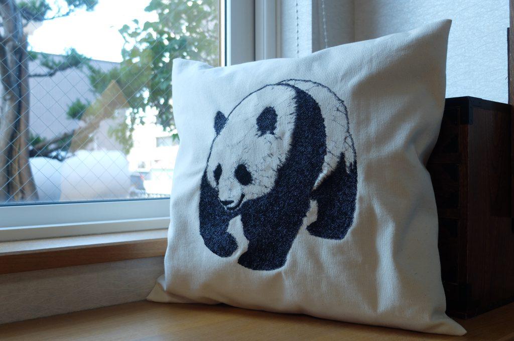フォト刺繍 クッション パンダ