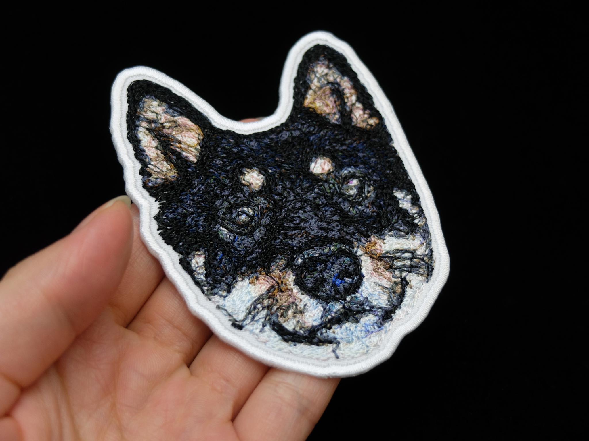 フォト刺繍 刺繍ワッペン 愛犬 出産祝い