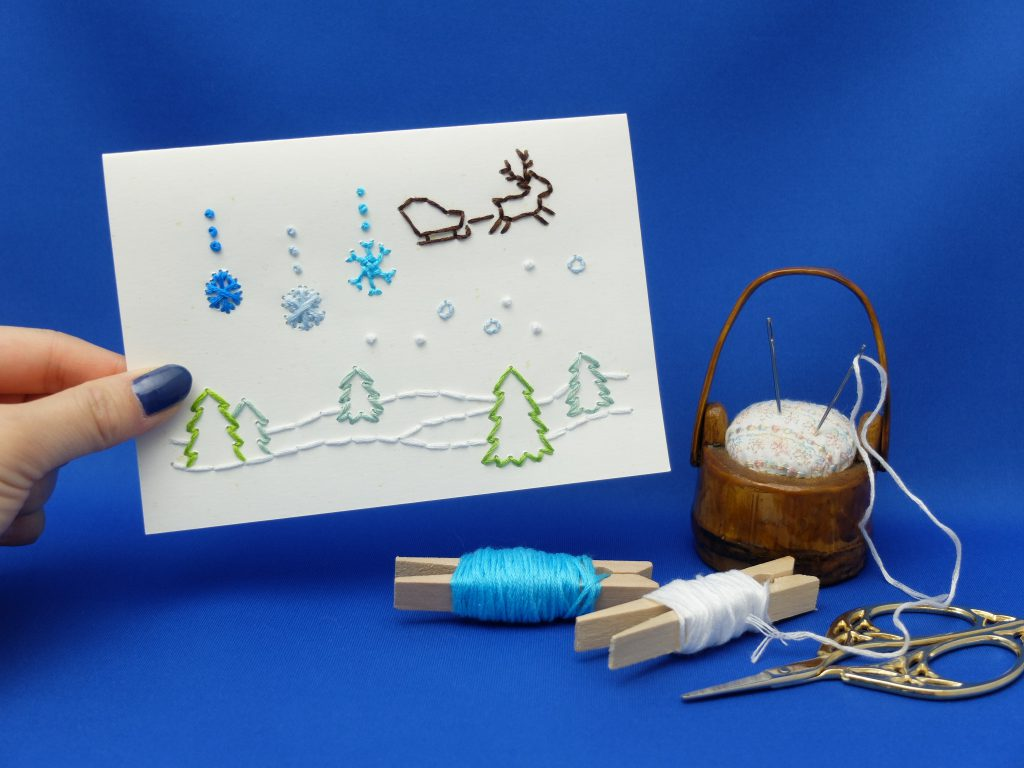 紙刺繍 雪の結晶 メッセージカード 刺繍糸