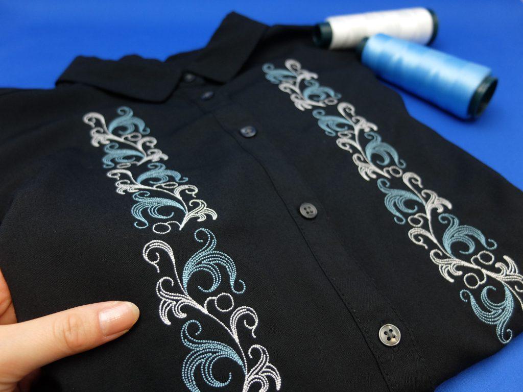 アラビカ柄 唐草模様 シャツ刺繍