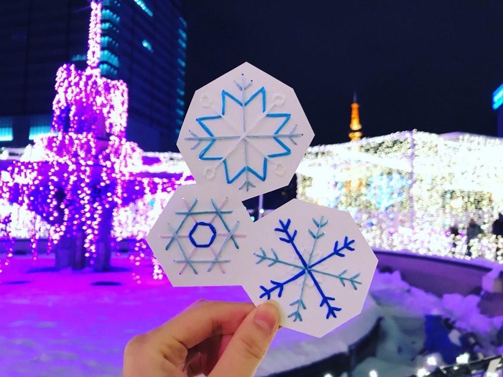 紙刺繍 札幌の冬 ホワイトイルミネーション