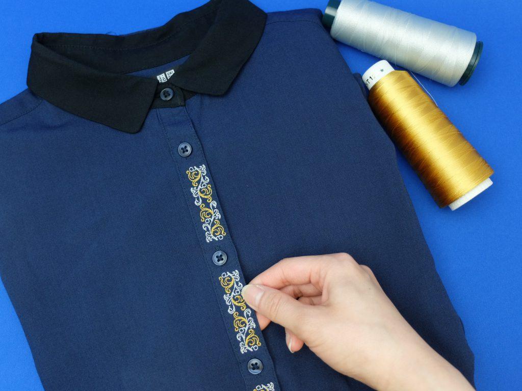 シャツ刺繍 アラベスク柄 ミシン刺繍
