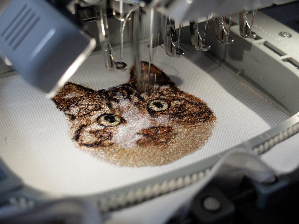 フォト刺繍 札幌市東区 猫 ミシン刺繍