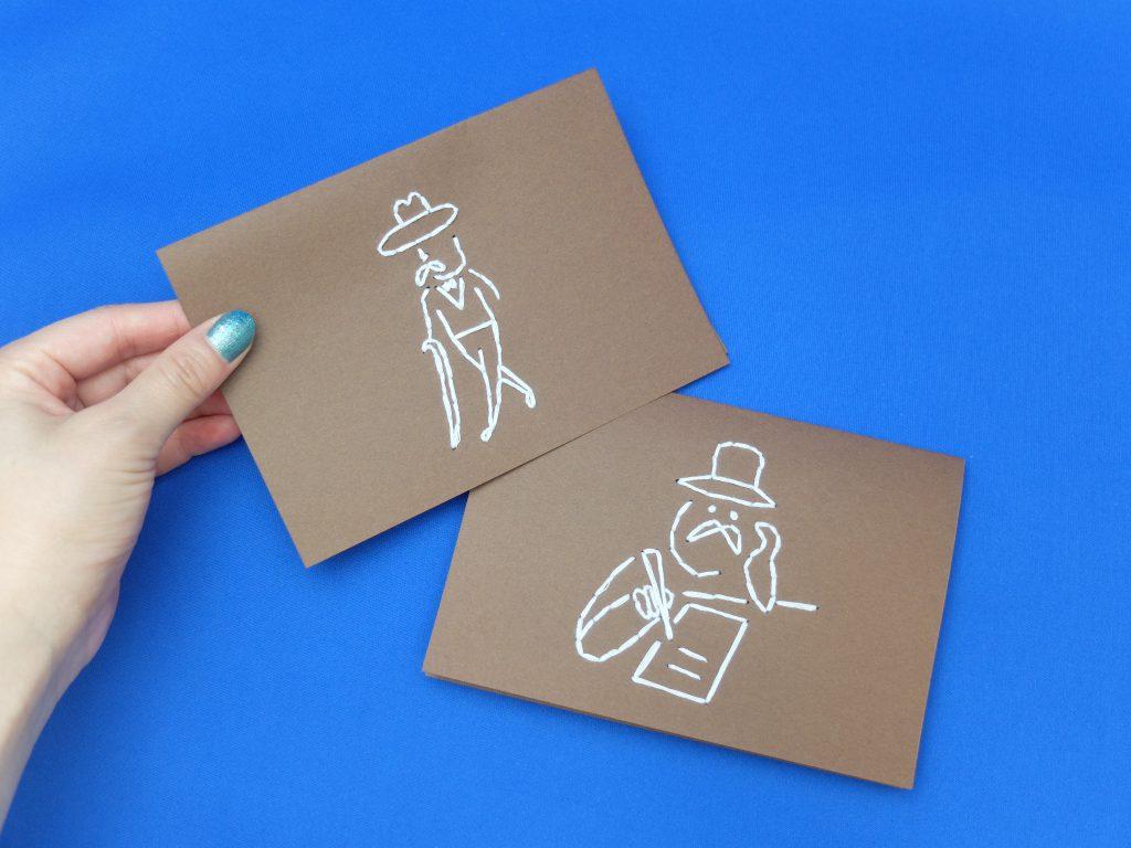 紙刺繍 手刺繍 小さいおじさん メッセージカード