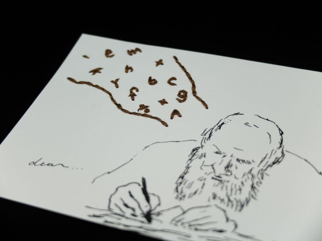 紙刺繍 ポストカード おじさん お手紙