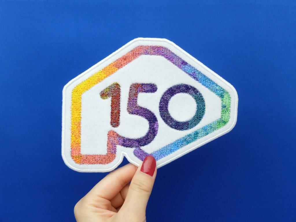 北海道150年事業 北海道命名150年 ロゴマーク フォト刺繍