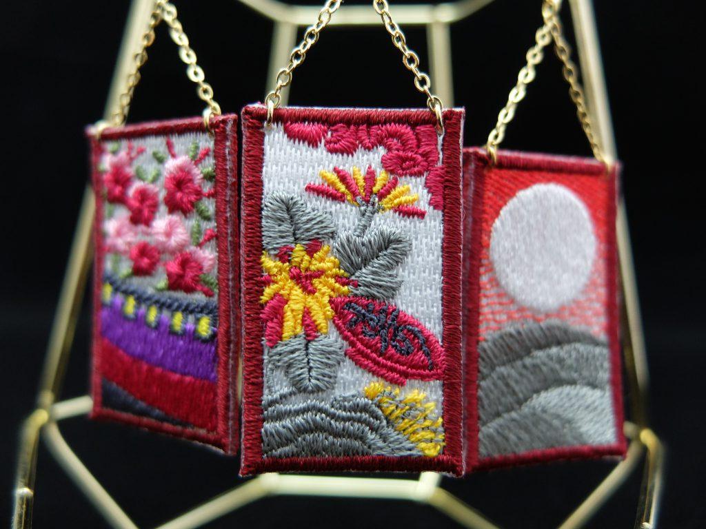 花札 刺繍ピアス 菊に盃 オーダー作品