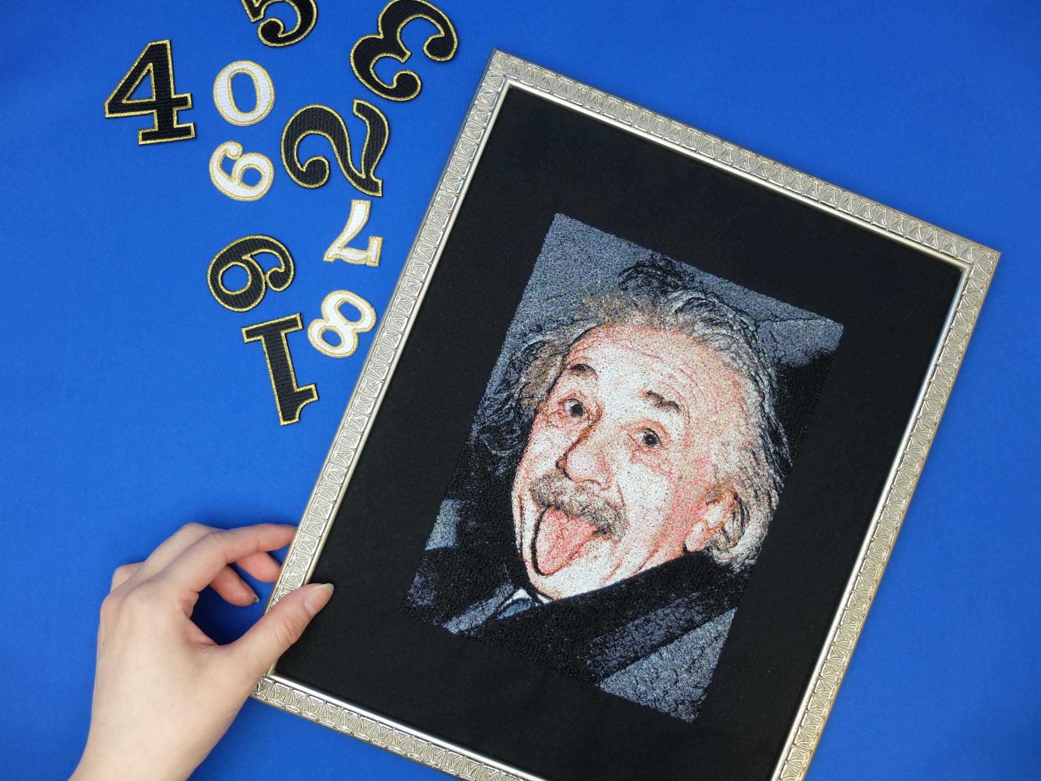 アインシュタイン 相対性理論 偉人 フォト刺繍
