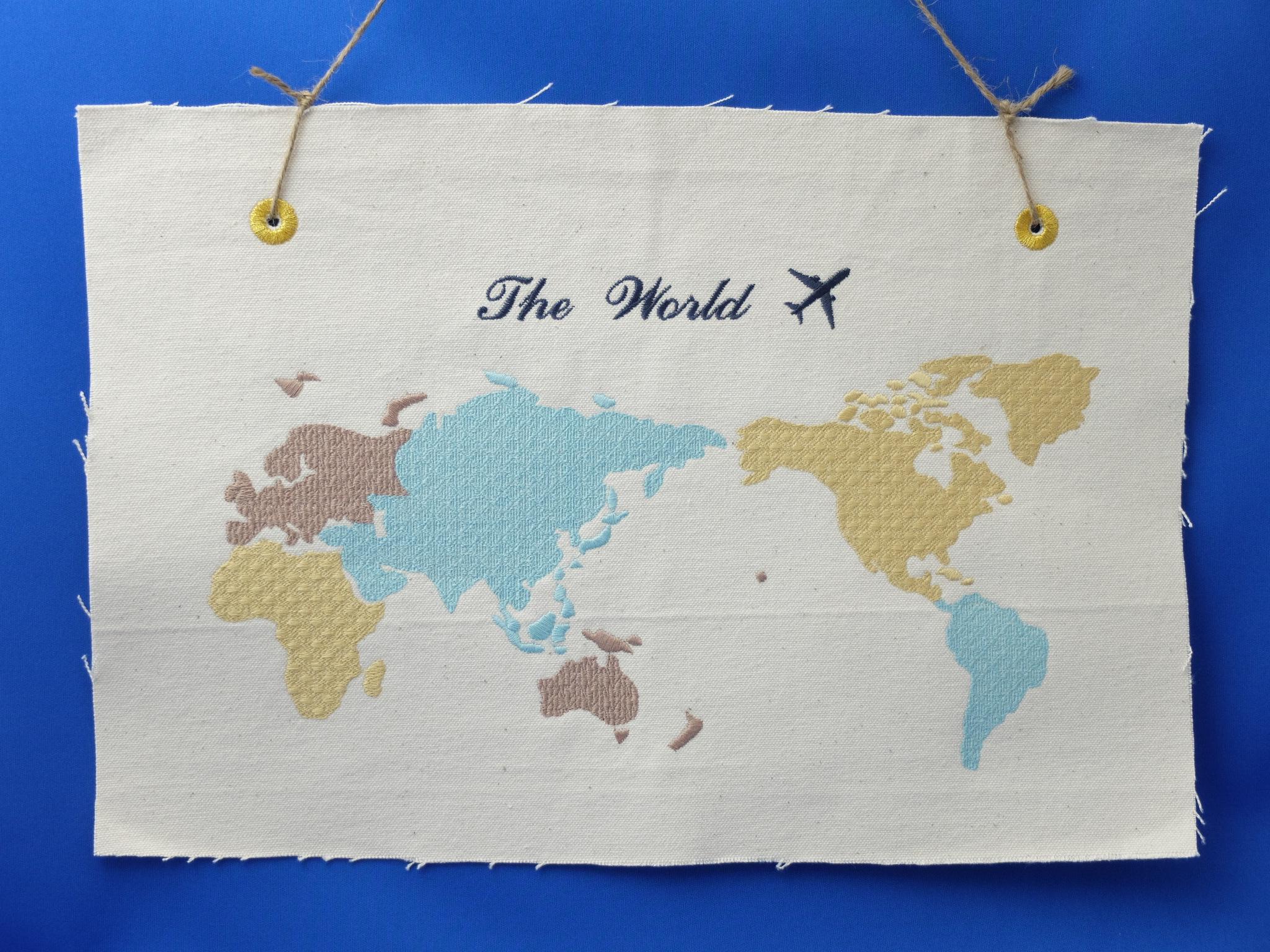 刺繍 世界地図 刺繍インテリア