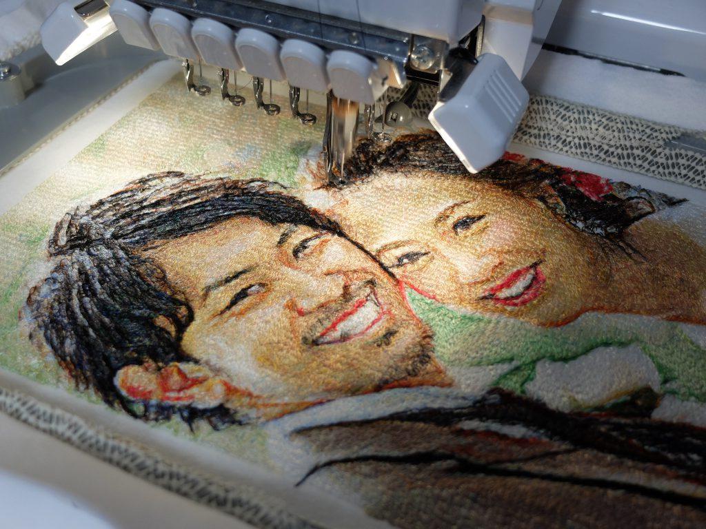フォト刺繍 ウェディングフォト 結婚祝い ミシン刺繍