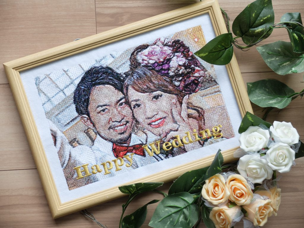 フォト刺繍 ウェディングフォト 前撮り 結婚祝い