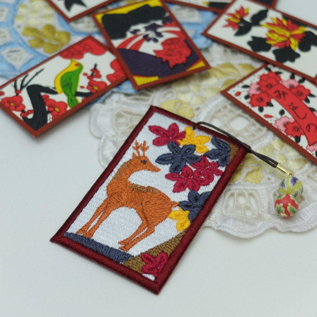 花札の刺繍しおり 紅葉に鹿 ミンネ