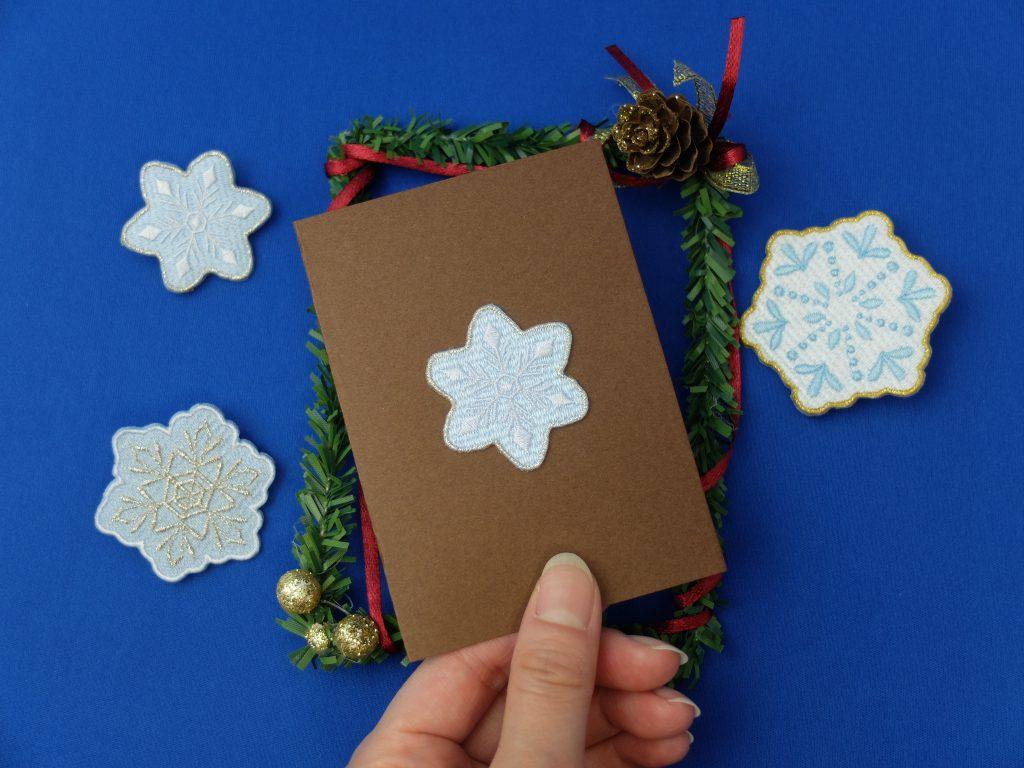 メッセージカード 刺繍シール 雪の結晶