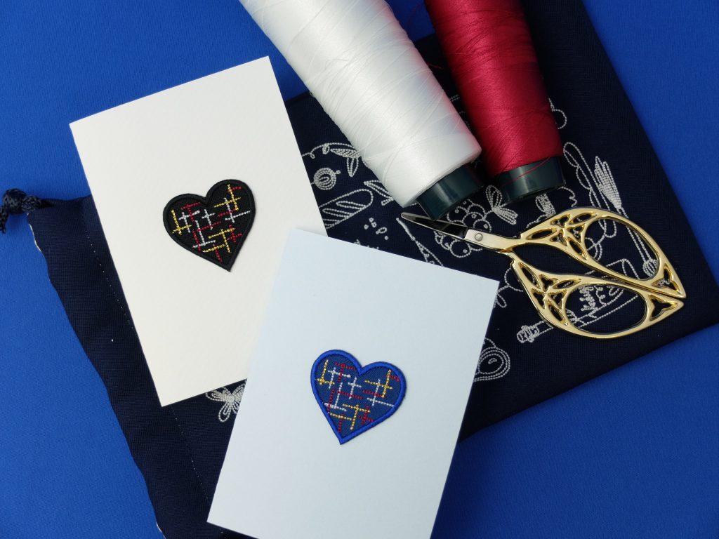 刺繍シール メッセージカード ツイード柄
