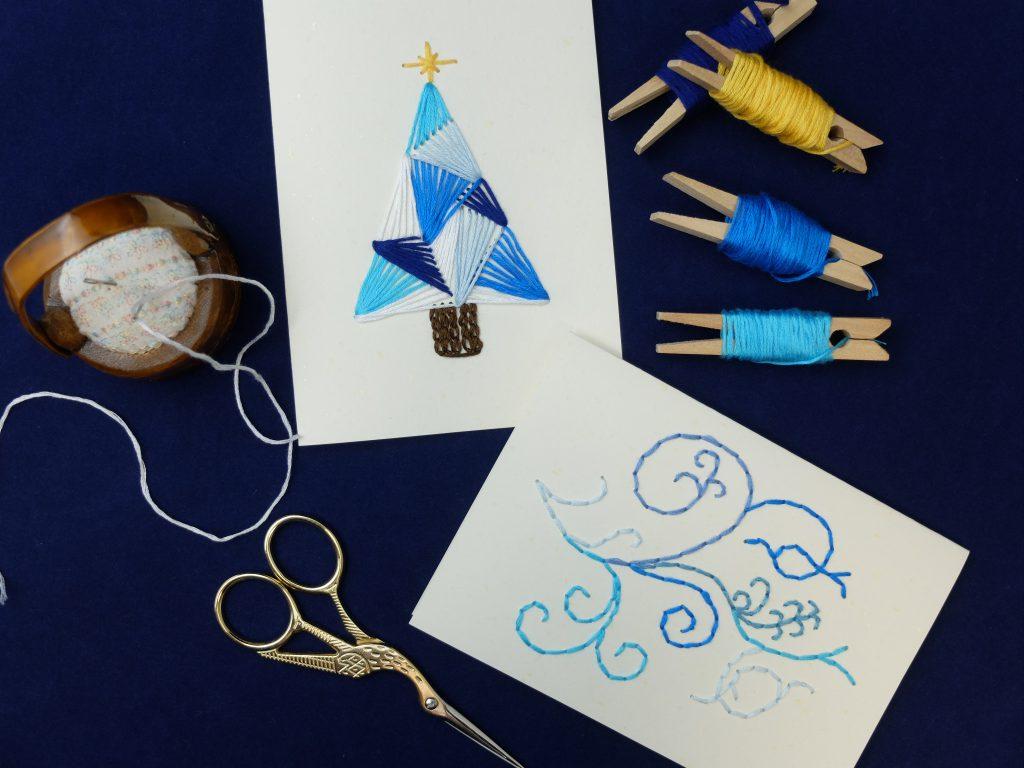 紙刺繍 クリスマスツリー メッセージカード