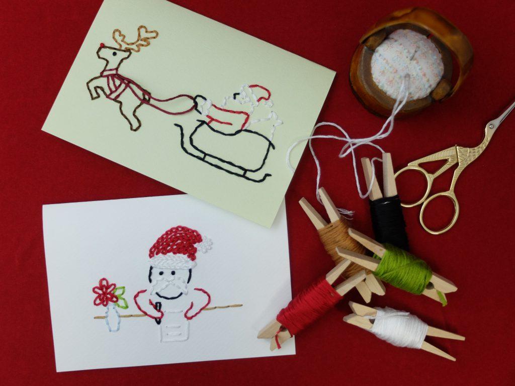紙刺繍 クリスマス サンタ トナカイ メッセージカード