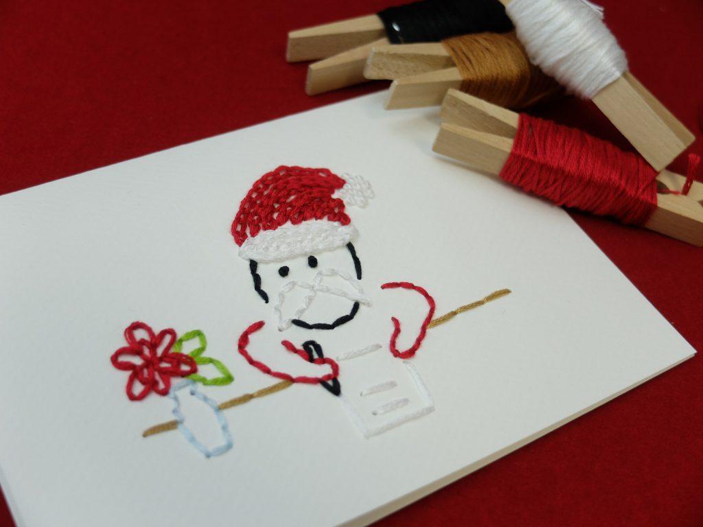 紙刺繍 クリスマス サンタ メッセージカード