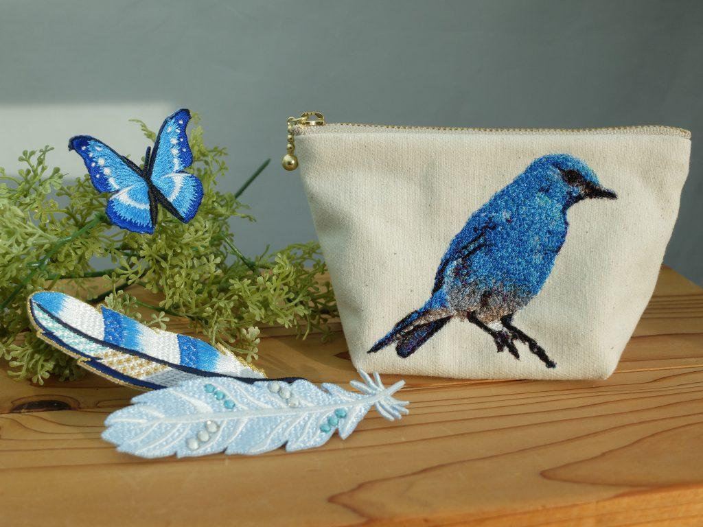 フォト刺繍 刺繍ポーチ 刺繍ブローチ