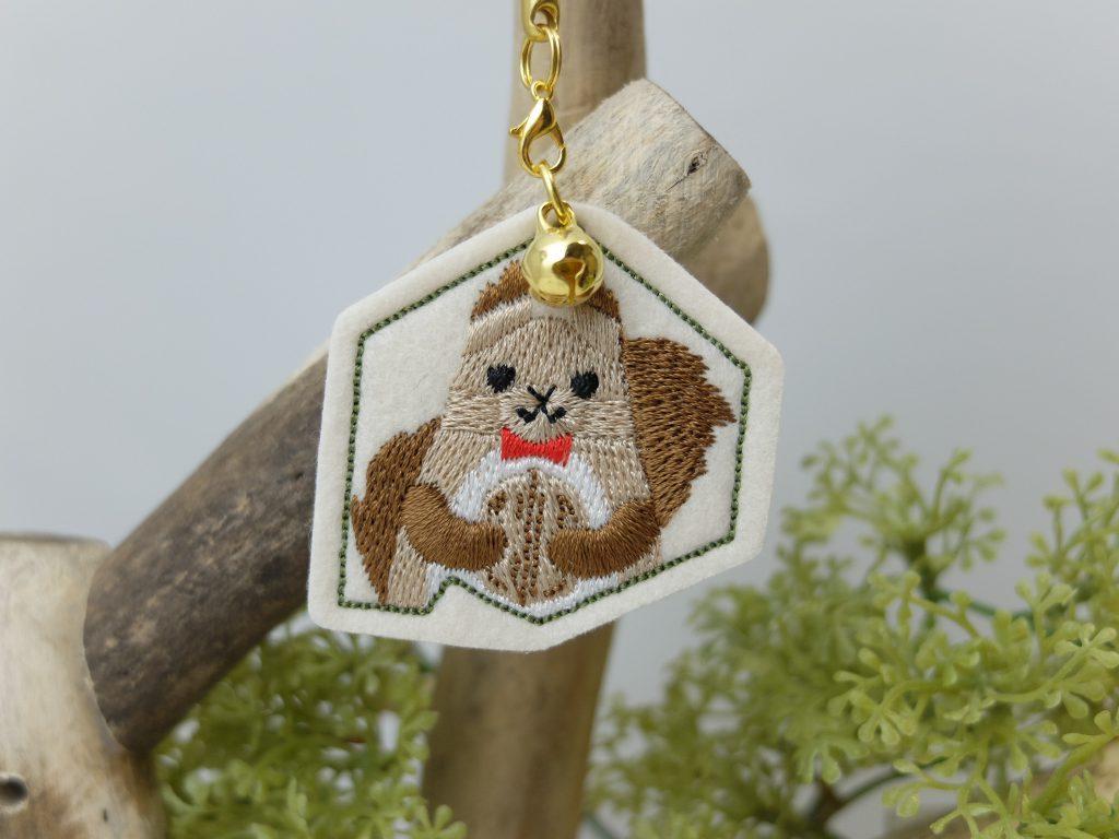 北海道の動物 刺繍ストラップ エゾリス